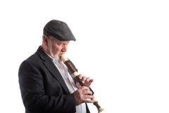 Man playing a recorder Stock Photos