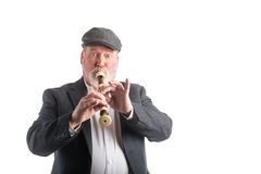 Man playing a recorder Royalty Free Stock Images