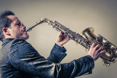 Man playing the sax Royalty Free Stock Photo