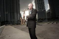 Man playing the saxophone Stock Photos