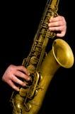 Man playing saxophone stock images