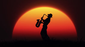 Man playing on saxophone. Against the background of sunset. This is a 3d render illustration Stock Photos