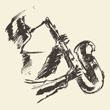 Man playing saxophone drawn vector sketch. Stock Images