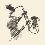 Man playing saxophone drawn vector sketch. Royalty Free Stock Image