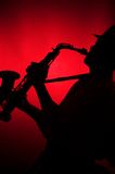 Man Playing Saxophone in Silhouette Royalty Free Stock Photos