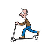 Man playing scooter cartoon drawing 2 Royalty Free Stock Photography