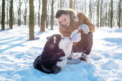 Man playing with siberian husky dog in snowy park Stock Photos