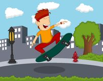 Man playing skateboard on the street cartoon Royalty Free Stock Photo