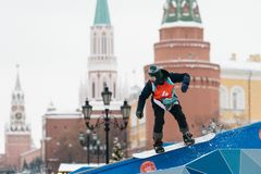 Man Playing Snowboard Outdoor royalty free stock images