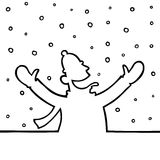Man playing with snowflakes. Black line art illustration of a man playing with snowflakes Royalty Free Stock Photography