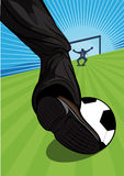 Man playing soccer aiming for a goal. Vector illustration of the leg of a businessman playing soccer aiming for a goal across a green sports field with the Royalty Free Stock Photo