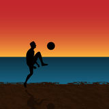 Man playing socces on the beac. Vector man playing socces on the beach Royalty Free Stock Photo