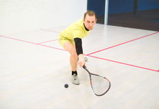 Man playing squash. Young caucasian squash player hitting a ball in a squash court. Squash player in action. Man playing match of squash Stock Photography