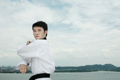 Man playing with taekwondo outdoor Stock Photography