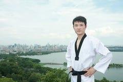 Man playing with taekwondo outdoor Stock Photo