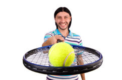 The man playing tennis isolated on white Royalty Free Stock Images