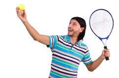 The man playing tennis isolated on white Royalty Free Stock Photography