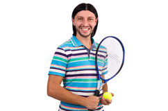 The man playing tennis isolated on white Royalty Free Stock Photos