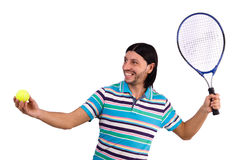 The man playing tennis isolated on white Royalty Free Stock Photo
