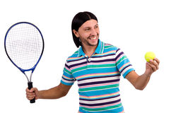 The man playing tennis isolated on white Stock Images