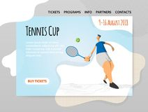 Man playing tennis. Vector illutration in abstract flat style, design template of sport site, banner or poster. stock illustration