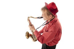 Man playing tenor saxophone from above Royalty Free Stock Photos