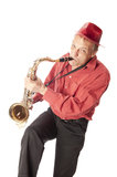 Man playing tenor saxophone playfull Stock Image
