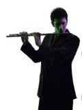 Man playing  transverse flute player  silhouette Royalty Free Stock Image