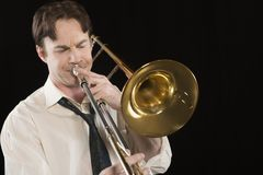 Man Playing Trombone Royalty Free Stock Photo