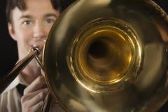 Man Playing Trombone Royalty Free Stock Photography