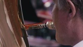 Man playing on trombone stock footage