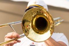 Man playing trombone Stock Images