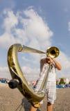 Man playing trombone Royalty Free Stock Photo