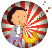 A man playing with the trombone Stock Images