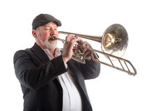 Man playing a trombone Royalty Free Stock Image