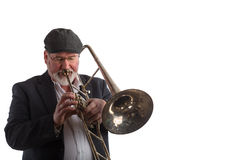 Man playing a trombone Royalty Free Stock Photos