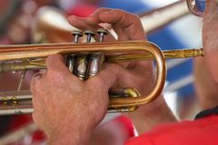 Man Playing Trumpet_7702-1S. Close-up of Man Playing Trumpet Stock Images
