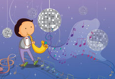 A man playing the trumpet with disco lights Stock Photos