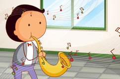 A man playing a trumpet. Illustration of a man playing a trumpet royalty free illustration