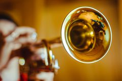 Man plays the trumpet Stock Images