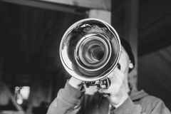 Man plays the trumpet Royalty Free Stock Photo