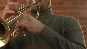 Man Playing trumpet. People music stock footage