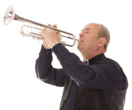 Man playing trumpet on a white Stock Photography