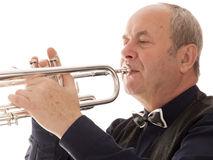 Man playing trumpet on a white Stock Photo