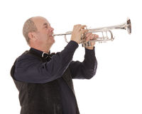 Man playing trumpet on a white Royalty Free Stock Photo