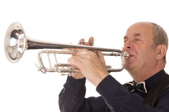 Man playing trumpet. On a white background Royalty Free Stock Photo