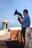 Man playing tuba at Cartagena de Indias. CARTAGENA, COLOMBIA - OCTOBER 2009. Man playing tuba at Cartagena de Indias wall Stock Photography