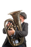 A man playing a Tuba Stock Image