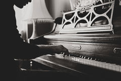Man Playing Upright Piano Grayscale Photo Stock Photo