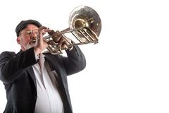 Man playing a valve trombone Royalty Free Stock Photography